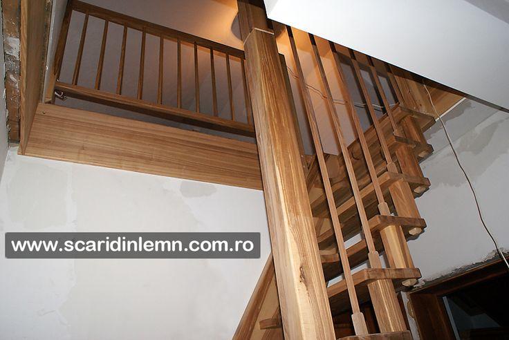 scari interioare din lemn masiv pret cu vang si trepte economice cu pas combinat