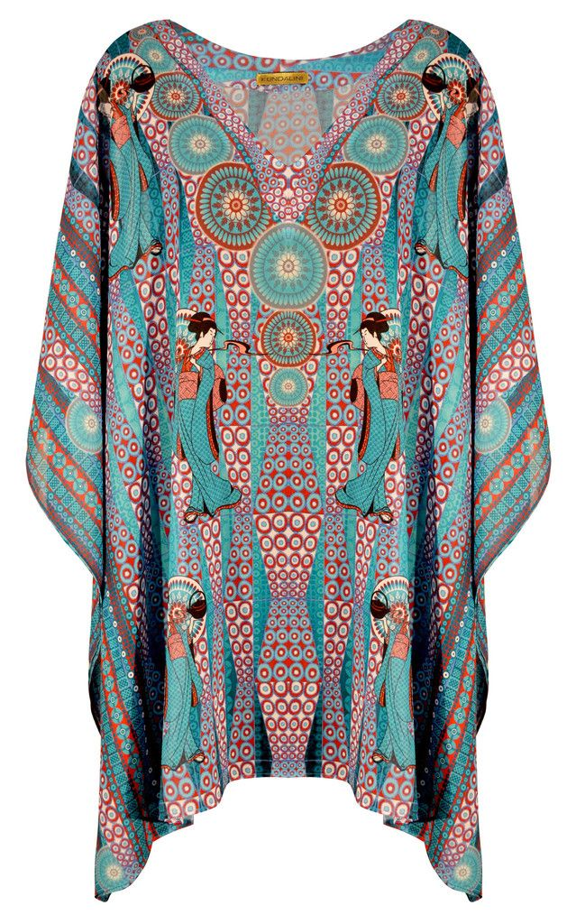 'TAMIKA' one size fits most, Kundalini Arts, geisha pattern kaftan top for summer