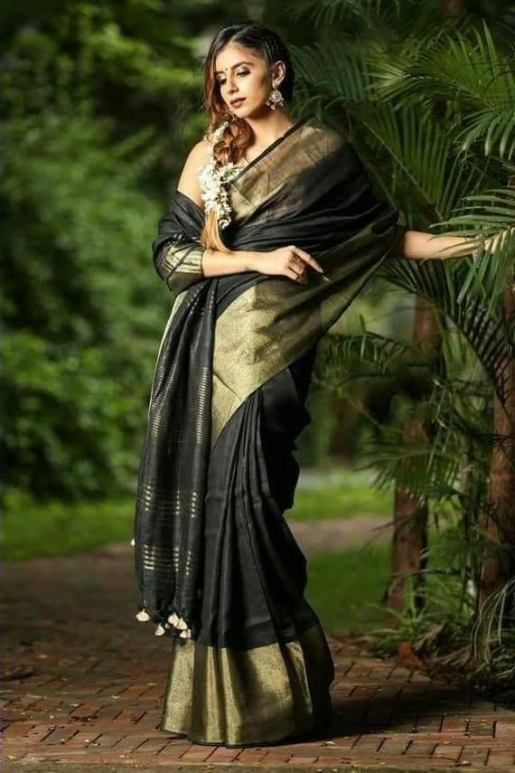 Pure Tissue Saree Tissue Linen saree Linen Silk Sari Organic Linen Embroidered Zari Border Blouse Piece Wedding Bridesmaid Bridal Saree gift
