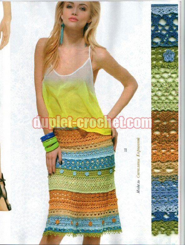 #Crochet_skirt  June 2014 Journal Jurnal Zhurnal MOD 578 Russian crochet patterns book