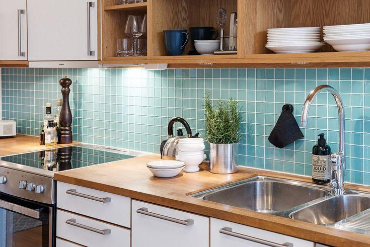 Znalezione obrazy dla zapytania turkusowe płytki do kuchni