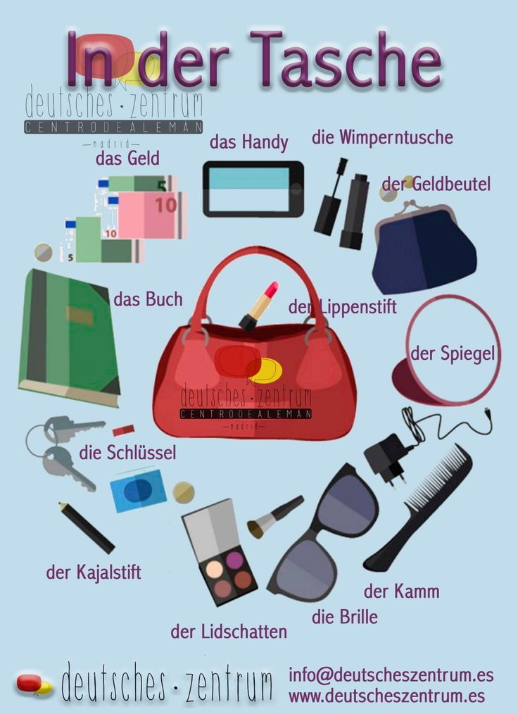 In der Tasche  Deutsch Wortschatz Grammatik German DAF Vocabulario Alemán