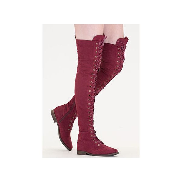 Over The Moon Lace-Up Thigh-High Boots ($36) ❤ liked on Polyvore featuring shoes, boots, red, lacing boots, above knee boots, laced thigh boots, red over knee boots and thigh-high boots