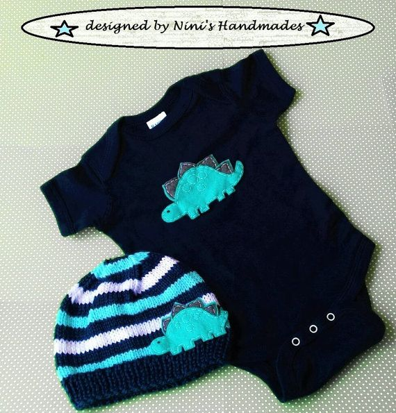Knit Baby Striped Hat and Navy Baby Bodysuit Set by NinisHandmades