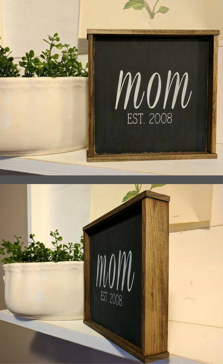 Rustic Farmhouse Inspired Mom EST CUSTOMIZED Framed Wood Sign