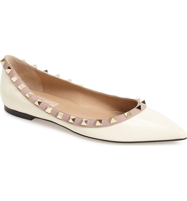 ROCKSTUD BALLERINA FLAT - Valentino Bridal Shoes: Vows in Rockstud Style https://www.loveandlavender.com/2018/01/valentino-bridal-shoes/