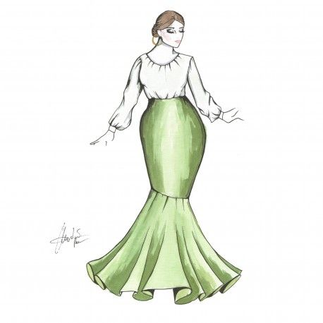 Falda larga de 1 volante #moda #flamenca #patrones #volantes #lunares #sketch #dibujo #boceto #pintura #modelo