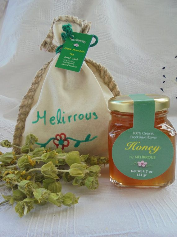 Honey Raw and Greek Mountain Tea  Raw Forest  by MelirrousBees