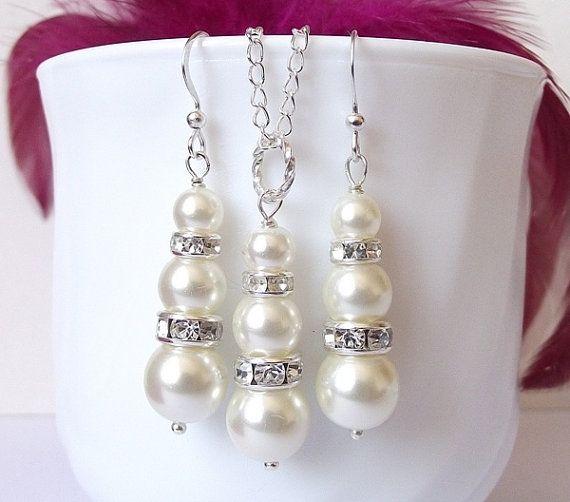 pearl bridal jewelry wedding jewelry set by