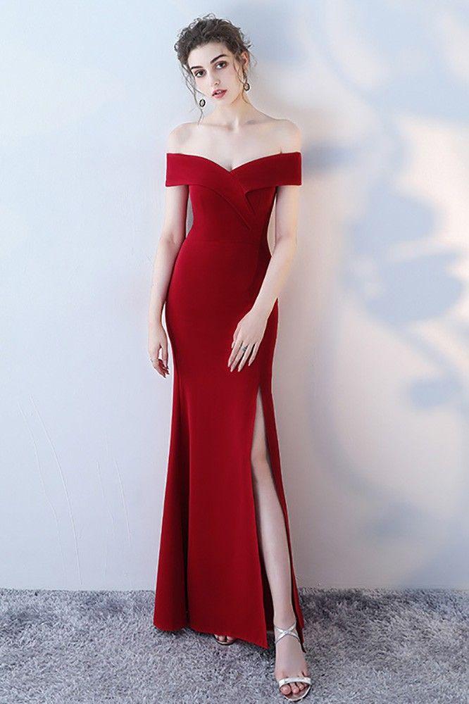 Burgundy Side Slit Mermaid Formal Dress Off Shoulder # ...