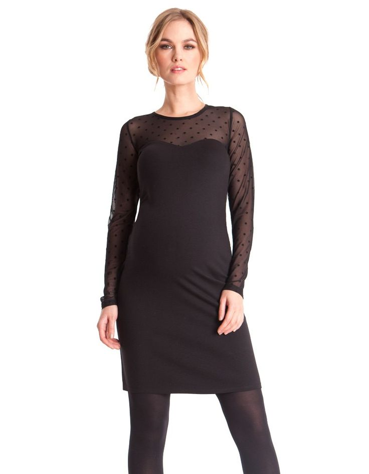 Aim for sheer perfection with Seraphine's little black maternity dress – sheer fabric with playful polka dots swathes your arms and décolletage.