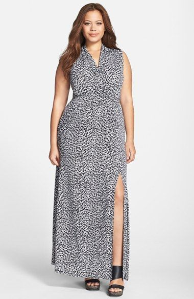MICHAEL+Michael+Kors+'Abstract+Jaguar'+Side+Slit+Sleeveless+Maxi+Dress+(Plus+Size)+available+at+#Nordstrom