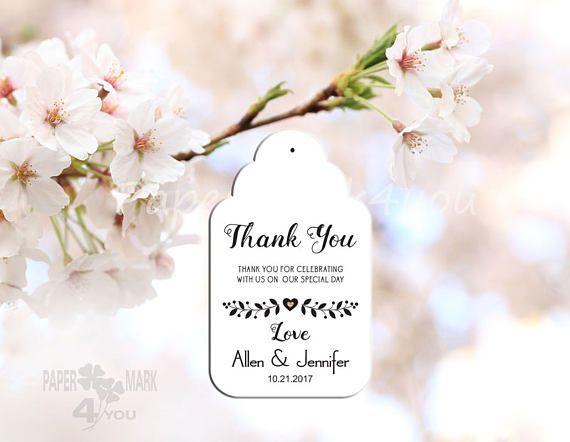 24 White Custom Wedding Tags 3.35x2 _Thank You Tags_
