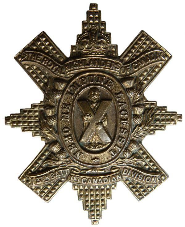 "CEF - Cap Badge - 13th Canadian Infantry Battalion -  ""Royal Highlanders of Canada"" - Montreal, Quebec. WW1."