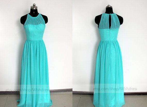 Ilusão Top longo azul vestido de baile / vestido da dama de azul / vestido longo da dama de honra / casamento vestido de festa / vestido de