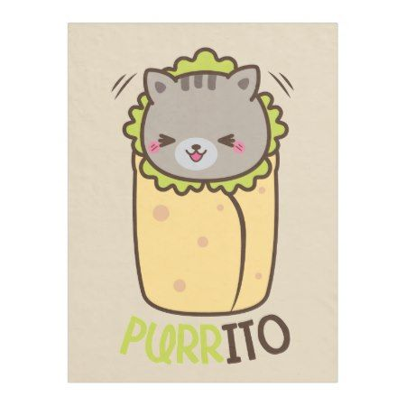 Purrito Burrito Cat Fleece Blanket - click/tap to personalize and buy #illustrations #illustration #gift #gifts #giftideas #giftforher #humor #funny #lol #pun #cat #cats #catlovers #kawaii