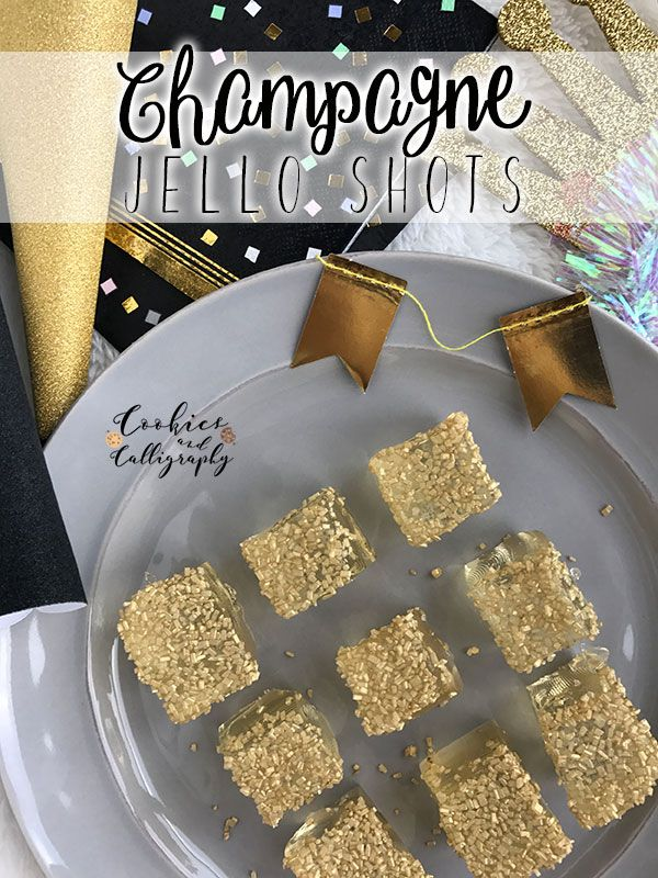 Champagne Jello Shots   If we are all honest with one another, New Year's Eve is all about the bubbly. :) So, however you decide to pop the cork, be sure to add these glamorous Champagne Jello Shots to your list of festive bites to share with friends and family... http://cookiesandcalligraphy.com/…/29/champagne-jello-shots/