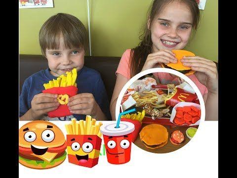 НАстоящая еда МАКДОНАЛЬДС против еды ПЛЭЙДО ЧЕЛЛЕНДЖ McDonald's  Food vs McDonald's Play Doh Food - YouTube