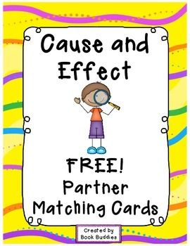 Please enjoy these free Cause and Effect partner matching cards with thanks from Book Buddies. These cards can be used as a great literacy center warm-up for Cause and Effect studies, either for matching partners or as a matching game. All cards in this product are shown in the thumbnails.