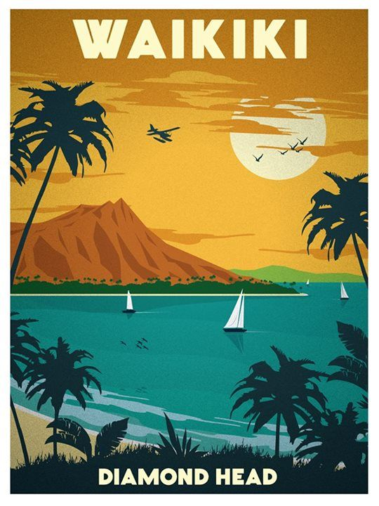 Vintage Travel Poster - Waikiki - Diamons Head - Hawaii.