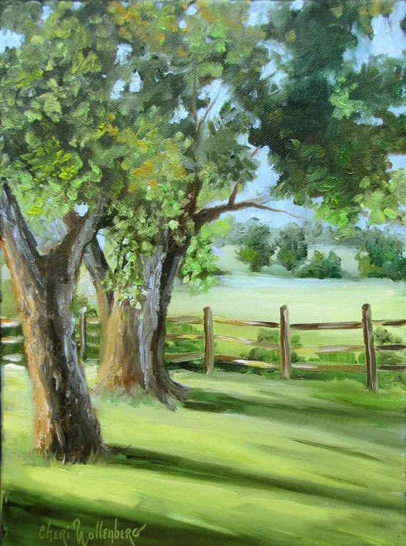 Small Landscape Original Oil Painting 9x12 Trees in Country Yard by Cheri Wollenberg