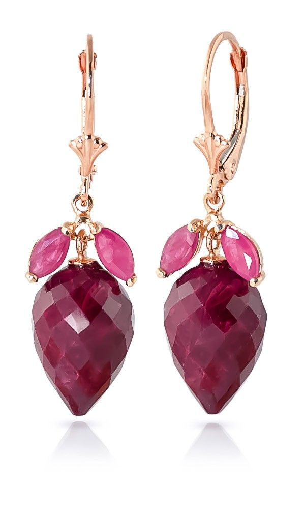 9ct Rose Gold 27.10ct Ruby Earrings