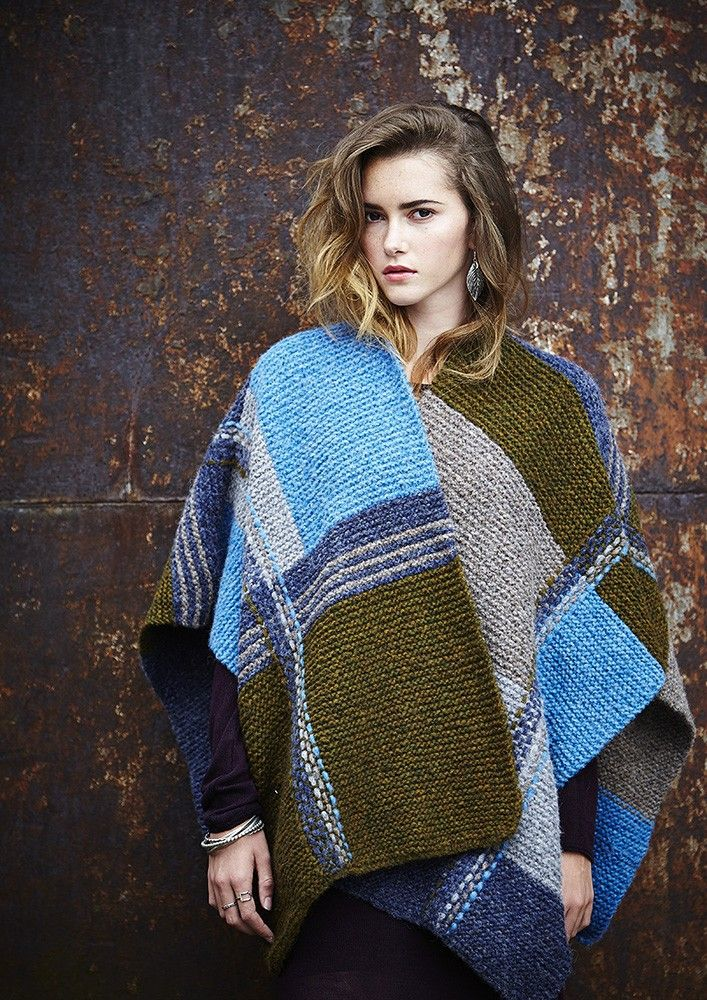 FREE Geometric Weave Poncho pattern in Rowan Brushed Fleece. One of a kind pattern made exclusively for Wool Week!