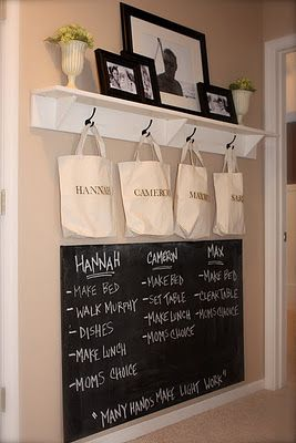 I need to do something on our porch for a mudroom type setup... hmmmm: Chalkboards, Chore Boards, Idea, Mud Rooms, Chalk Boards, Families Command Center, Chore Lists, Chore Charts, Kid