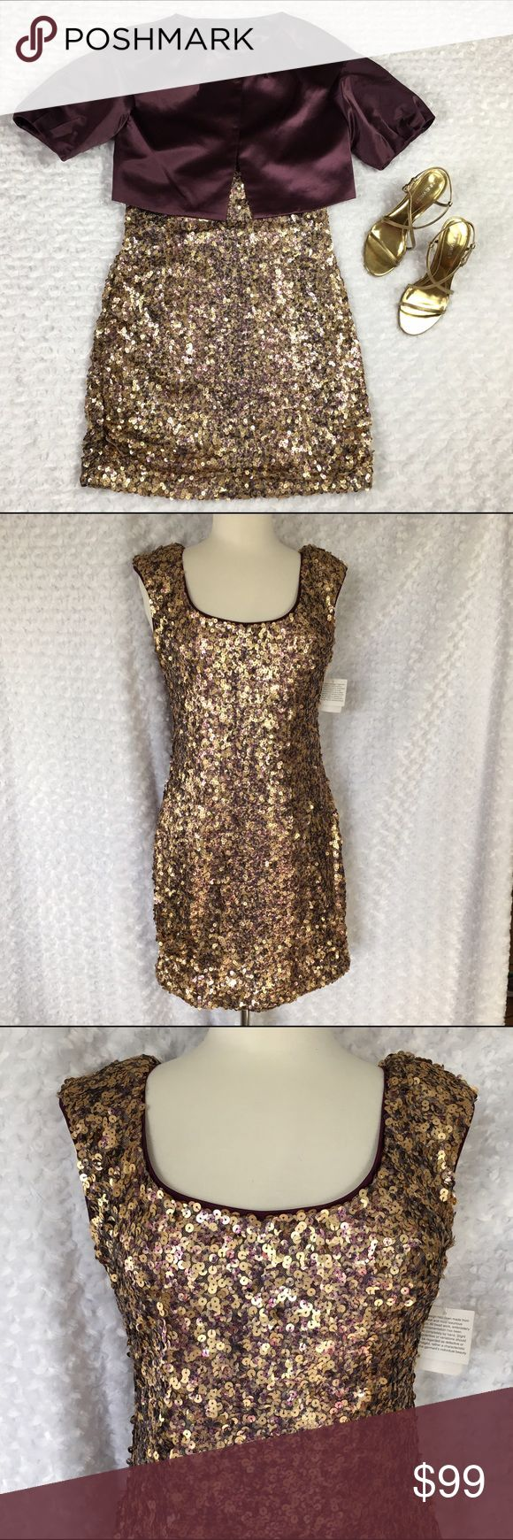 "❤️Aidan by Aidan Mattox Sequin Dress❤️ Stunning!  Perfect sequin ""wiggle"" dress from Aidan by Aidan Mattox.  Gorgeous gold, purple and pinkish sequins-  this almost has a rose gold look to it-so hot right now!  Dress is 80% polyester and 20% nylon.  Lining is 100% polyester.  Size 10.  Perfect condition-never worn.  Truly a quality piece!  Perfect for Valentine's Day!  ❤️❤️. I'm always open to reasonable offers.  😃 Aidan Mattox Dresses"