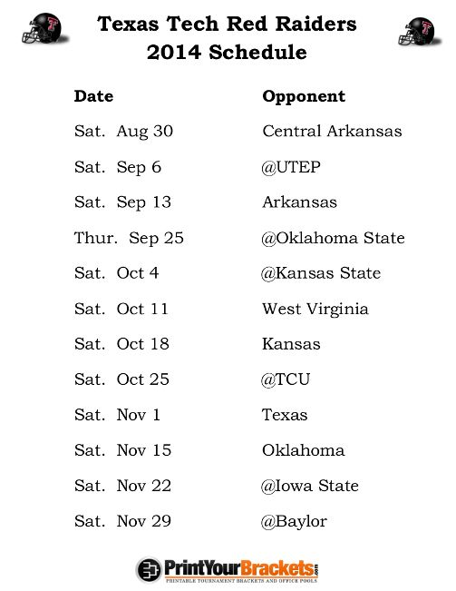 Printable Texas Tech Raiders Football Schedule 2014