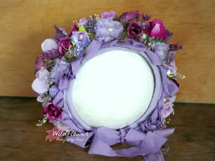 Custom Vintage purple floral bonnet. Designed & created by Wildflower Photography Props