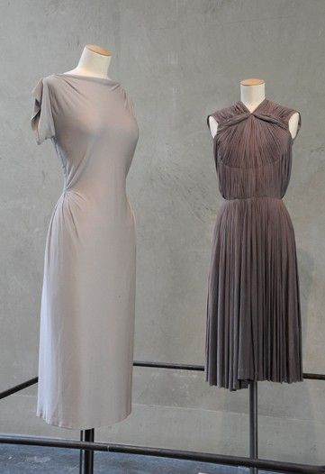 ~Madame, still looking au courant, decades later...  Madame Grès mauve spring-summer dresses in jersey, c.1956~