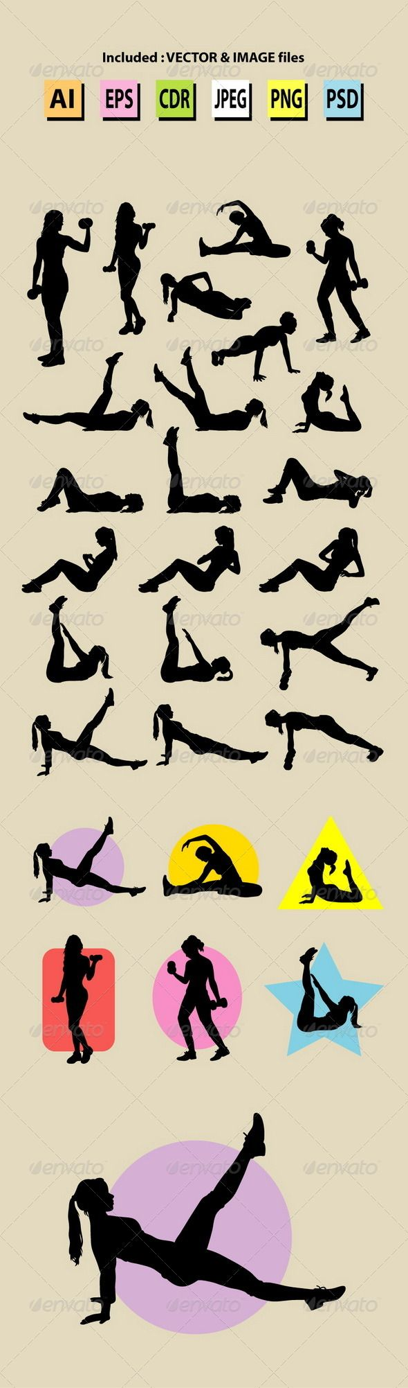 Female Sport Training Silhouettes  #GraphicRiver Girl sport activity silhouettes. Nice and smooth vector. Good use for your symbol, logo, sticker, icon, or any design you want. Easy to use, edit, or change color.   ZIP included : AI, EPS, CDR coreldraw (vector files = You can use any size you want without loss resolution), JPEG high resolution, PNG transparent, and PSD photoshop file.     Created: 6November13 GraphicsFilesIncluded: PhotoshopPSD