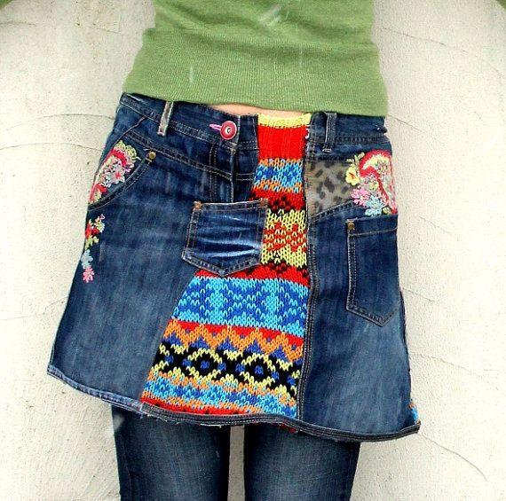 M-L Fantasy patchwork embroidered recycled mini skirt denim jeans and sweaters hippie boho
