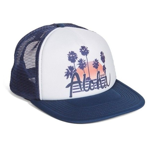 Women's Rip Curl Hawaiian Life Trucker Hat (340 ARS) ❤ liked on Polyvore featuring accessories, hats, navy, navy blue trucker hat, hawaiian hat, beach hats, hawaiian print hat and rip curl hats