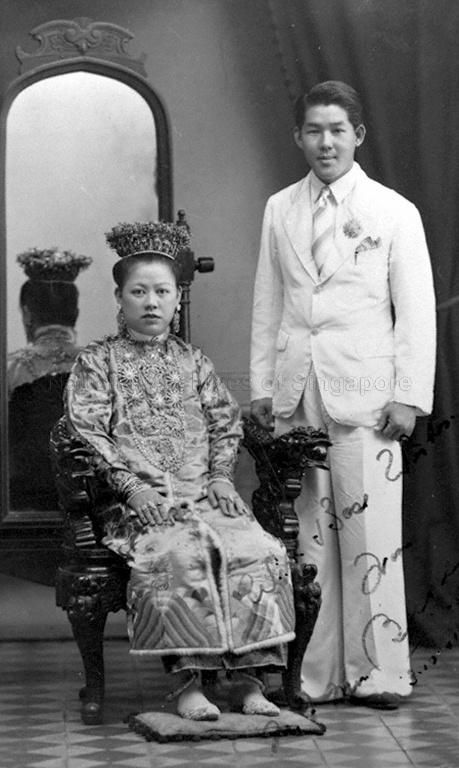 STUDIO PHOTO OF A PERANAKAN BRIDE ONG GUAT HOOI AND HER …