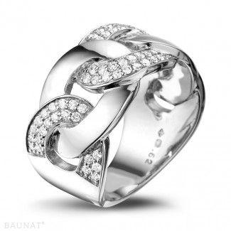 Witgouden Diamanten Ringen - 0.625 caraat diamanten ring met pavé