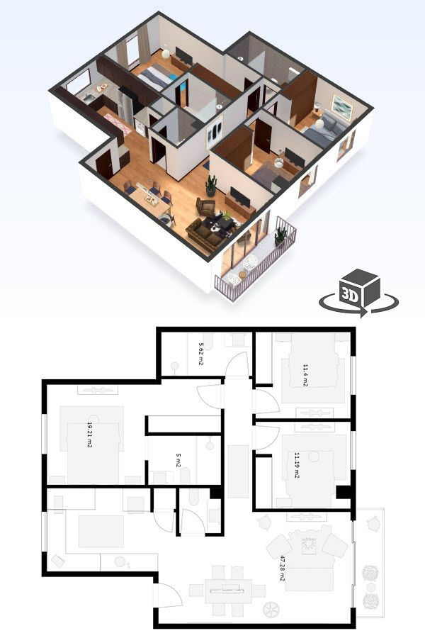 3 Bedroom Apartment Floor Plan In Interactive 3d Get Your Own 3d Model Today At Http Planto3d Com