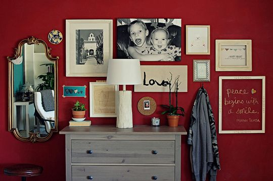 colors, framed things, dresser...everything: Wall Art, Color, Decorating Ideas, Collage, Gallery Wall, Red Walls, Bedroom, Accent Wall, Wall Ideas