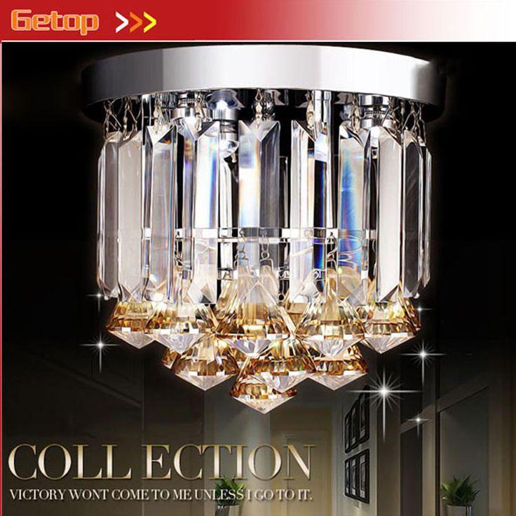 ZX Hot Sale K9 Crystal Round Chassis E14 LED Ceiling Lamp Diameter23xHeight21cm For Corridor Restaurant Livingroom