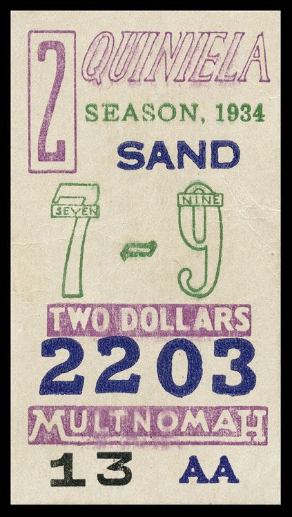 Betting Ticket; Purely Visual #letterpress #numbers