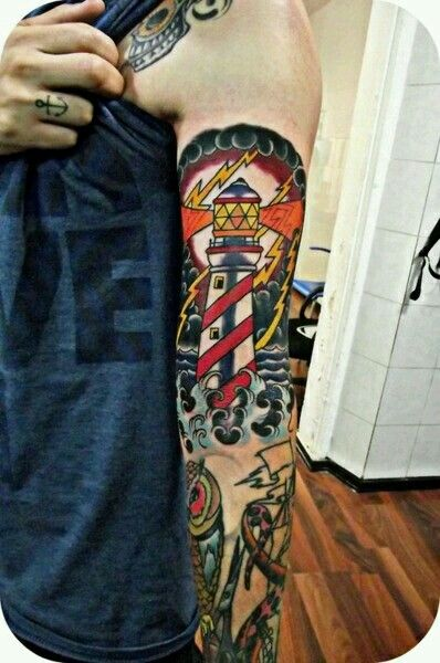 American Traditional lighthouse tattoo!