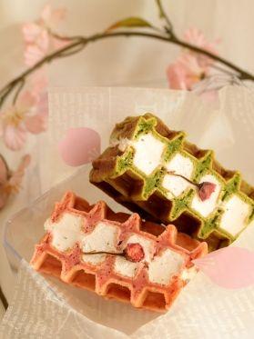 「* 桜と抹茶 ♡ 春のワッフルサンド♪」cherry♪ | お菓子・パンのレシピや作り方【corecle*コレクル】