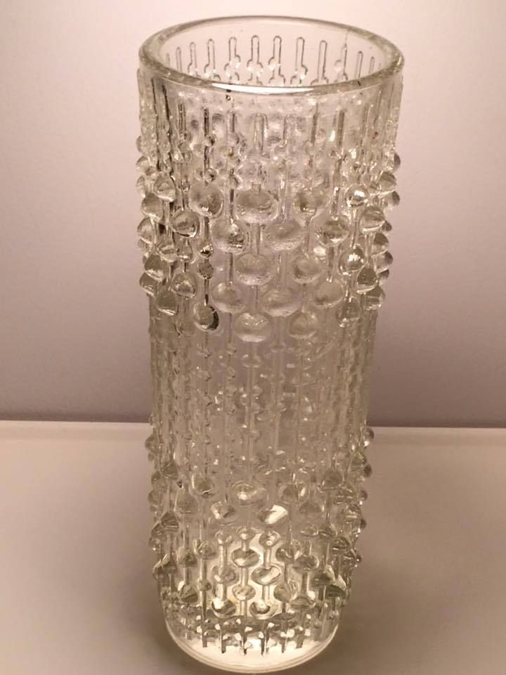 Sklo Union Hermanova clear candle wax glass vase mid century
