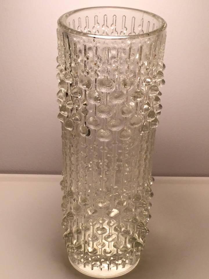 Sklo Union Hermanova clear candle wax glass vase mid century