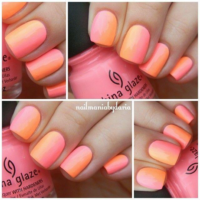 instagram @nailmaniabydaria   China Glaze, Sun Of A Peach * China Glaze, Neon & On & On gradient #nailart