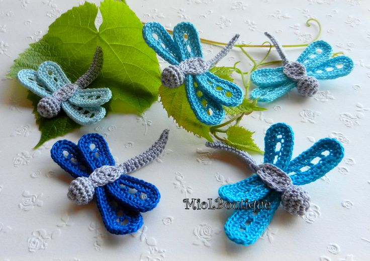 Crochet dragonfly Set of 5 Crochet applique Blue by MioLBoutique