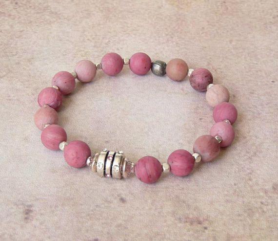 Womens Beaded Bracelet Boho Bracelet Pink Bracelet Elastic