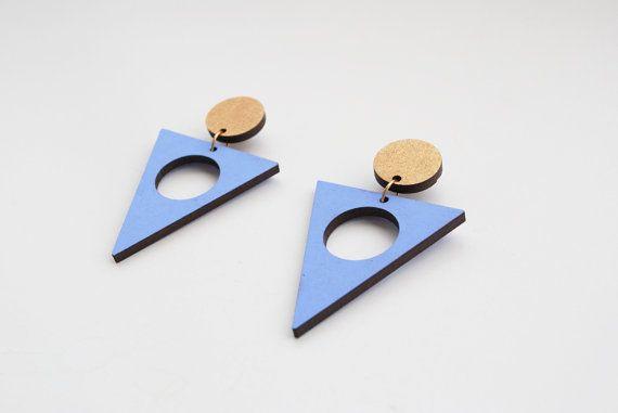 Geometric earrings triangle post earrings serenity by elfinadesign