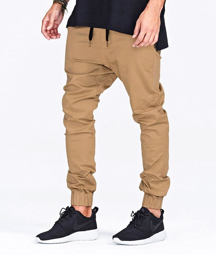 • Weekend Warrior. For your loungewear, sport athletic jogger pants from your go-to brands, like adidas, Champion and Puma. Link up these sporty men's joggers with a hoodie, logo T-shirt and your fave kicks. • Dress To Impress. Cargo or moto jogger pants in a twill fabric lend a dressier feel to casual outfits.